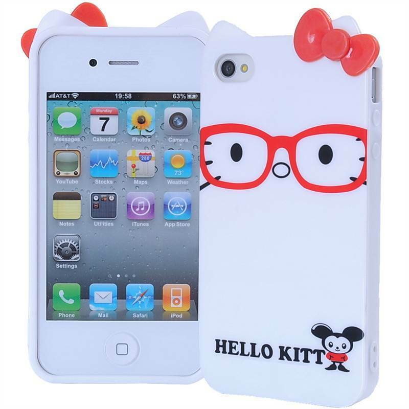 Hello Kitty Squishy Carrying Case : Cute Glasses & Bow Hello Kitty Soft TPU Case Cover for iPhone 4 4S - White eBay