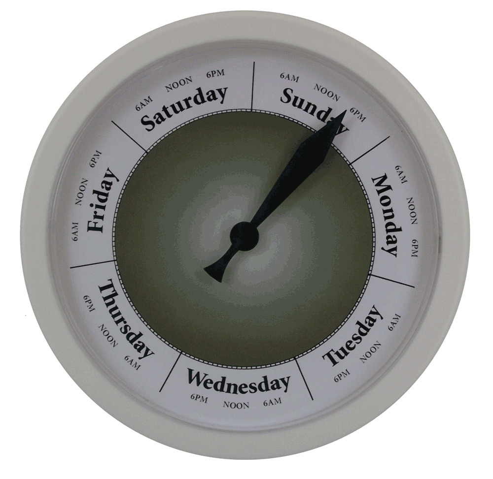 Day Of The Week Clock D281w Green Dial Day Clock Ebay