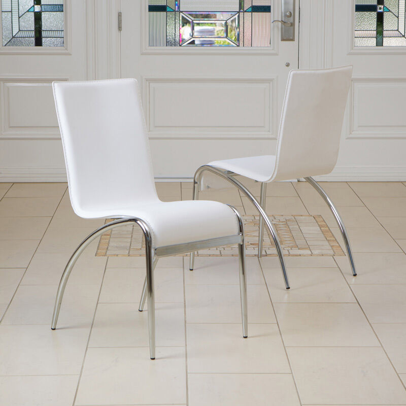 Set of 2 modern design chrome base white accent dining for Modern chrome dining chairs