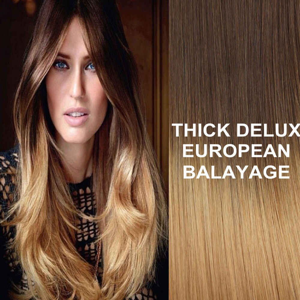 THICK DELUXE 4/27 BALAYAGE OMBRE CLIP IN REMY HUMAN HAIR EXTENSIONS Brown Blonde