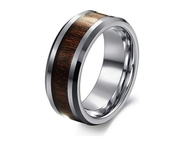 MENS SOLID TUNGSTEN Carbide Carbon Fiber WEDDING RING Band Engagement Classic
