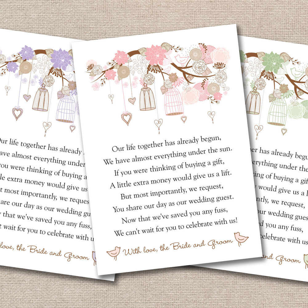 Money Not Gifts Wedding Poem : Wedding Poem Cards For Your Invitations Vintage Floral Birdcages Money ...