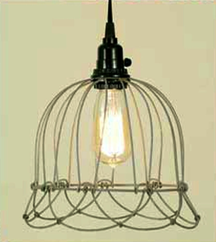 Industrial Bell Pendant Light: Barn Gray Vintage Rustic Primitive Industrial Small Wire