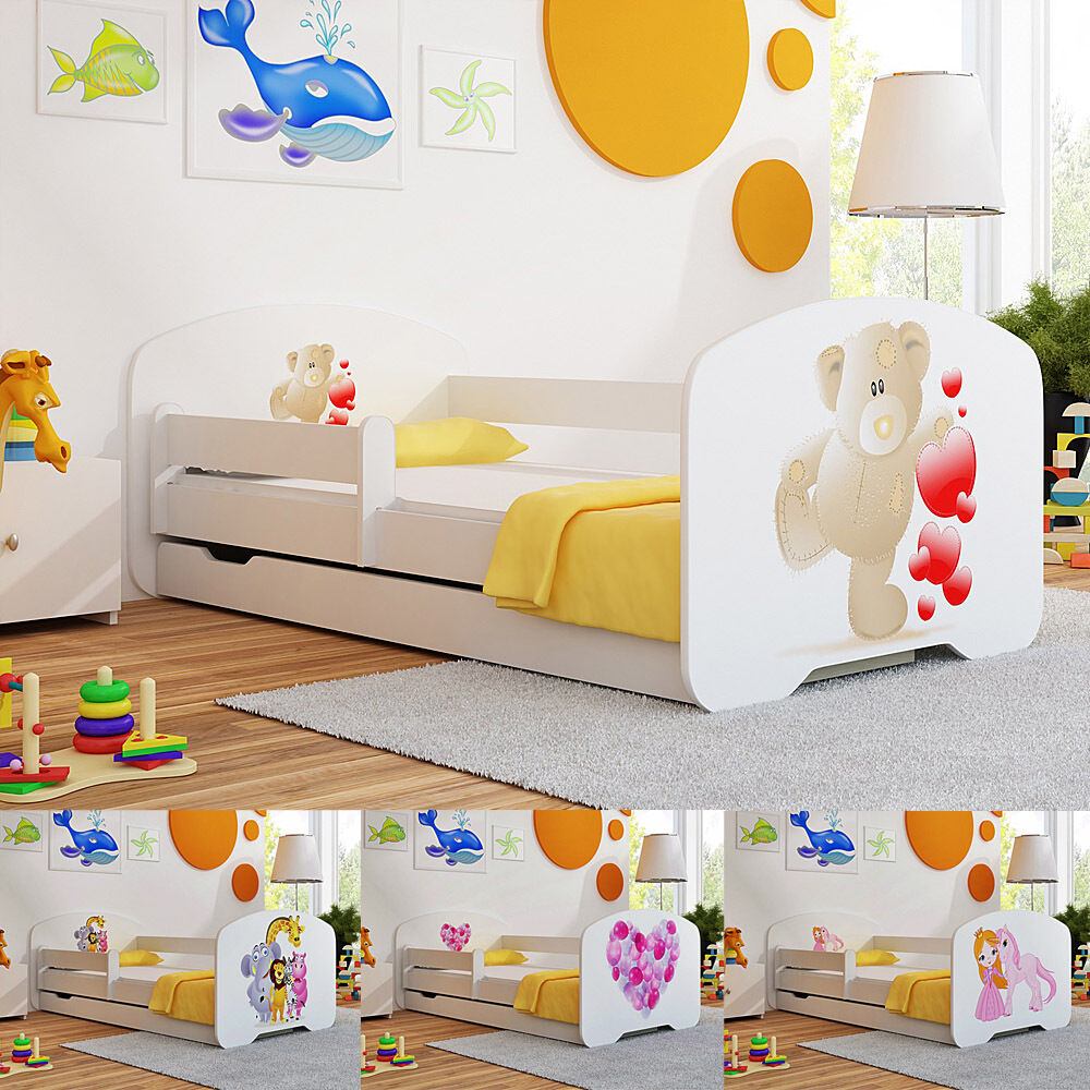 Toddler Children Kids Bed With Mattress Drawer For BOYS