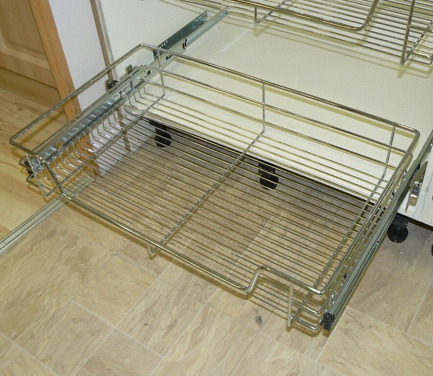 pull out wire basket chrome kitchen bedroom drawer all sizes inc 500mm 600mm ebay. Black Bedroom Furniture Sets. Home Design Ideas