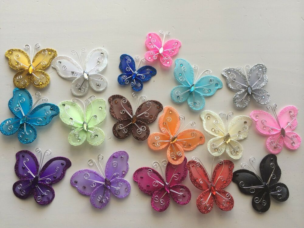 12 pcs nylon organza butterflies wedding butterfly for Butterflies for crafts and decoration