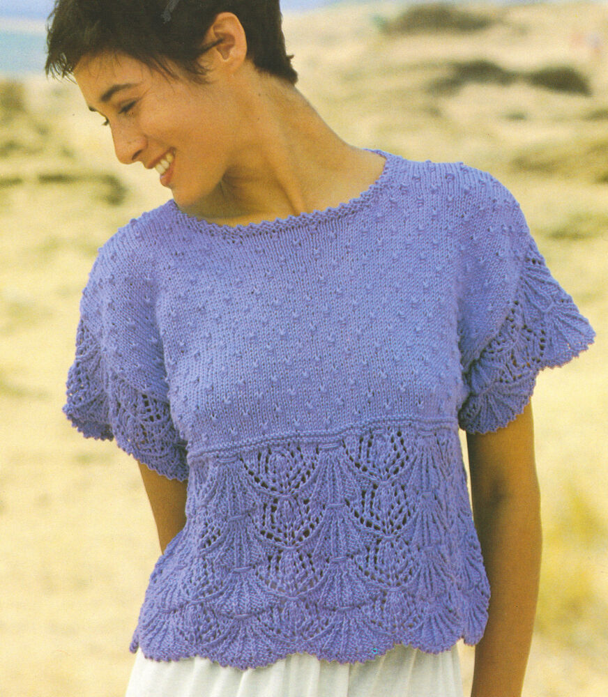 Lacy Scalloped Ladies Pattern Cotton DK Top ~ Knitting ...