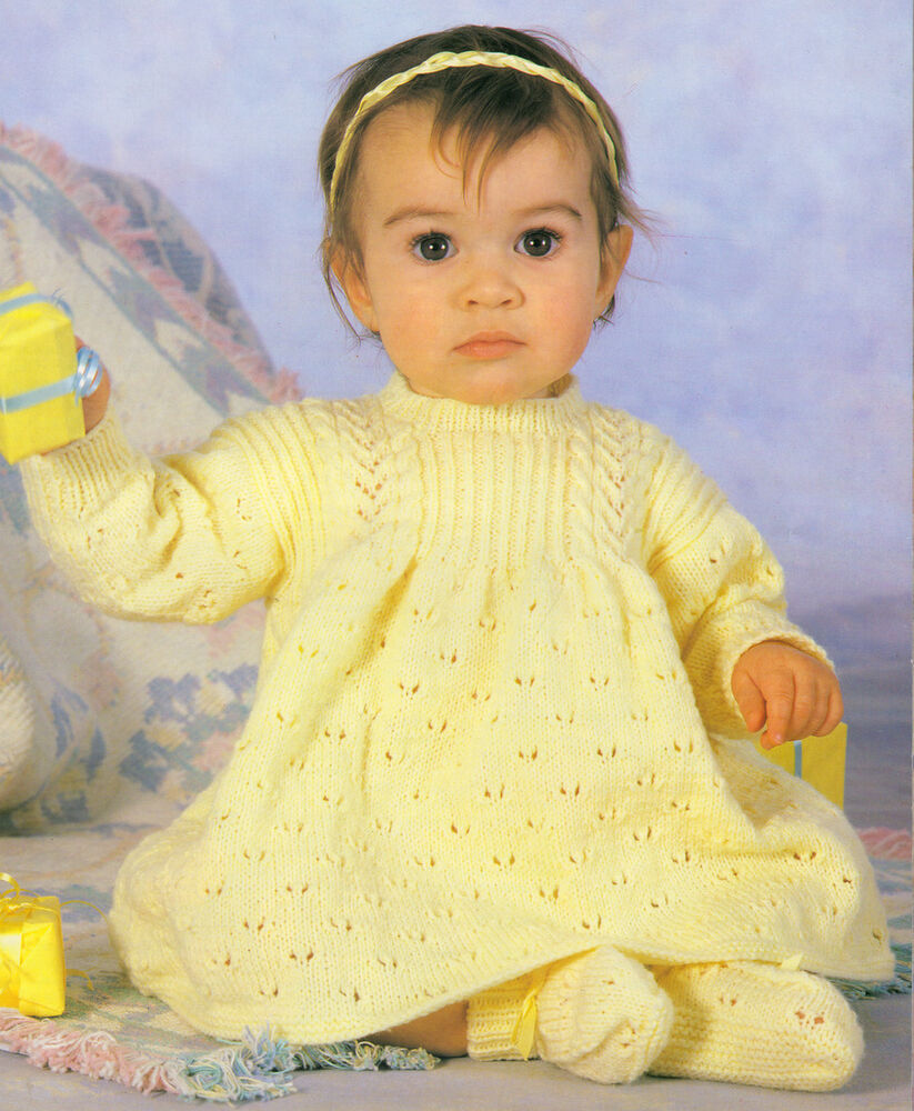 10 Ply Knitting Patterns Free : Pretty Baby Dress & Bootees 4 ply 16