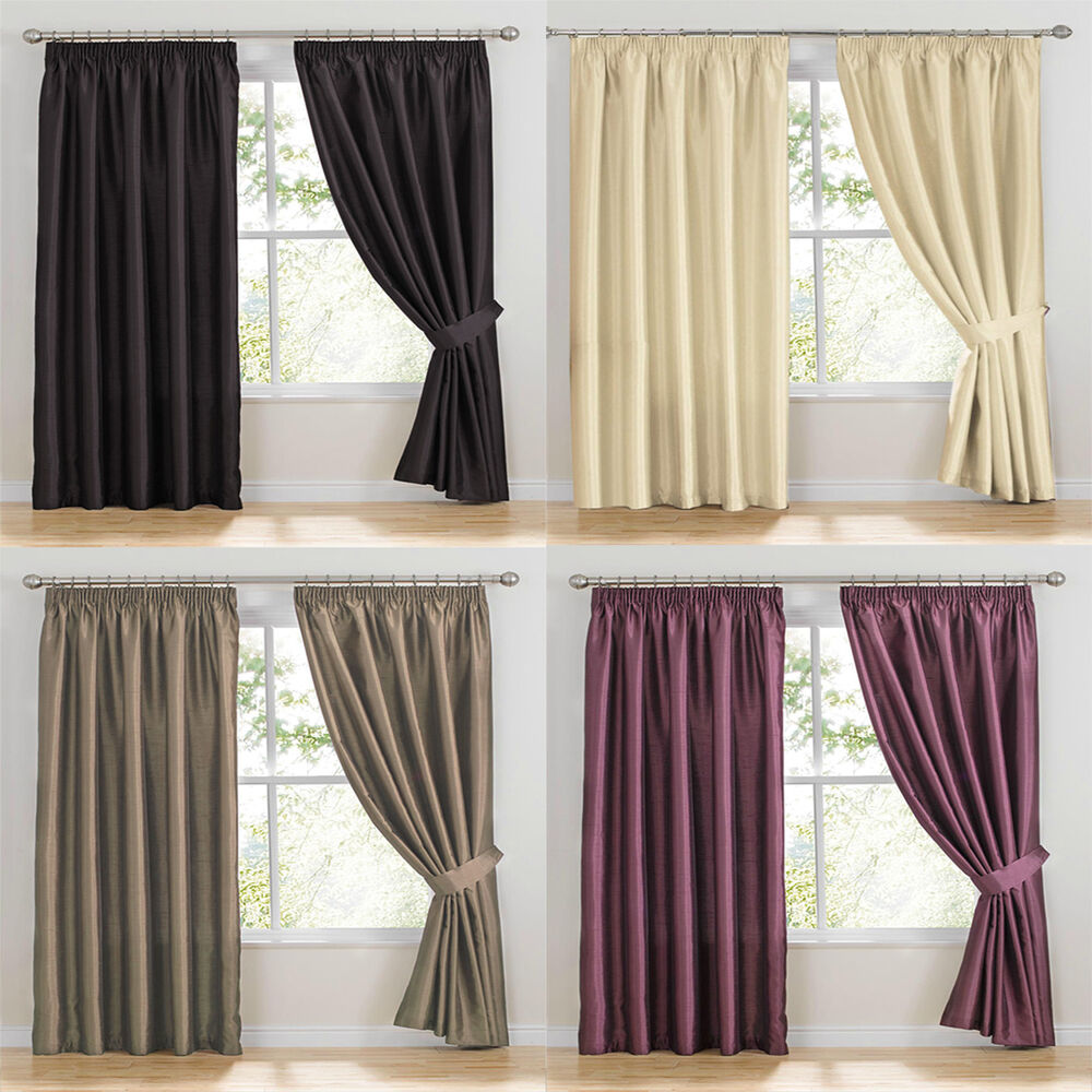 como faux silk ready made curtains pencil pleat tape top. Black Bedroom Furniture Sets. Home Design Ideas