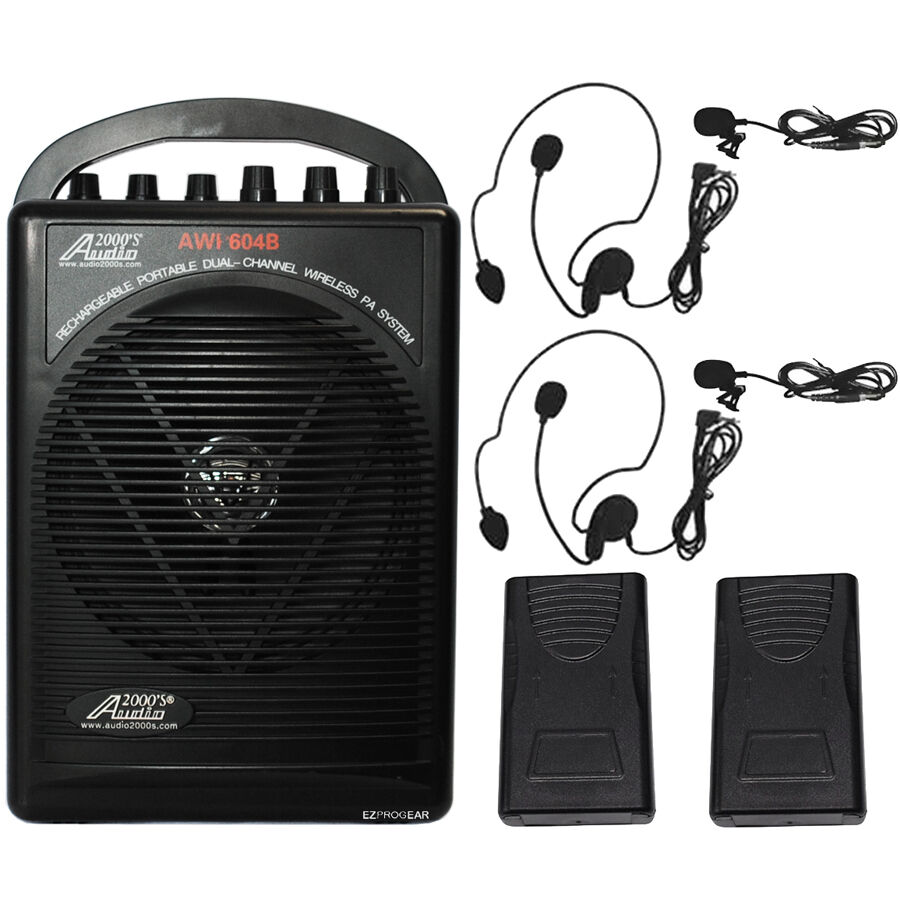 604bll wireless microphone battery powered portable pa system lavalier headset ebay. Black Bedroom Furniture Sets. Home Design Ideas