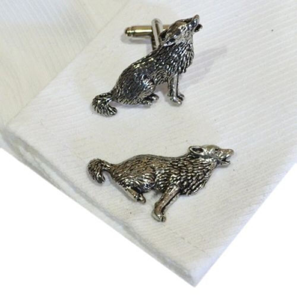 english pewter howling wolf cufflinks wolves xmas gift new x2tsbcc18 ebay. Black Bedroom Furniture Sets. Home Design Ideas