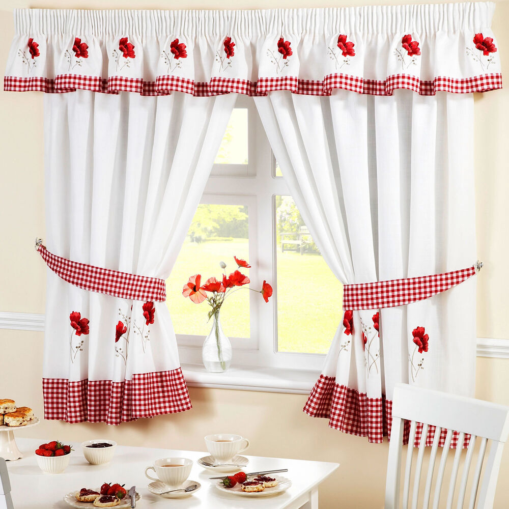 Kitchen Curtains Red Poppy Includes Tie Backs Pelmet Sold