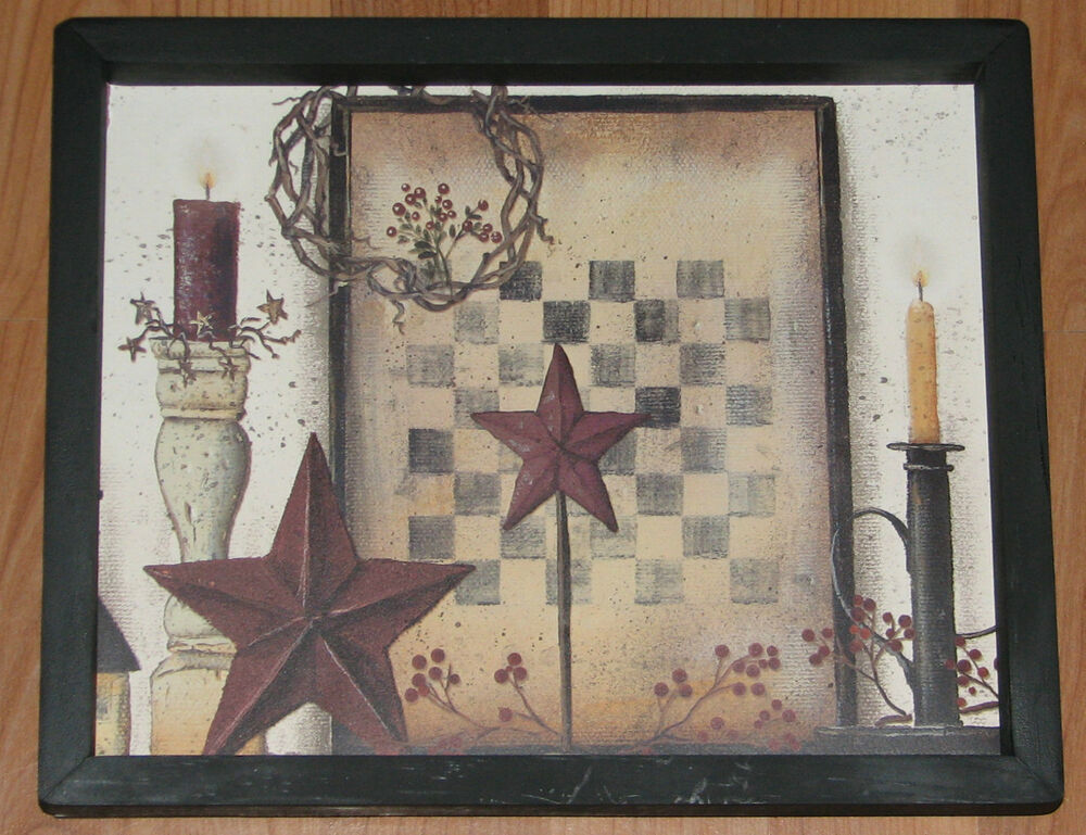 Star Wall Decor Ideas: Primitive Country Checker Board Barn Star Berries Candles