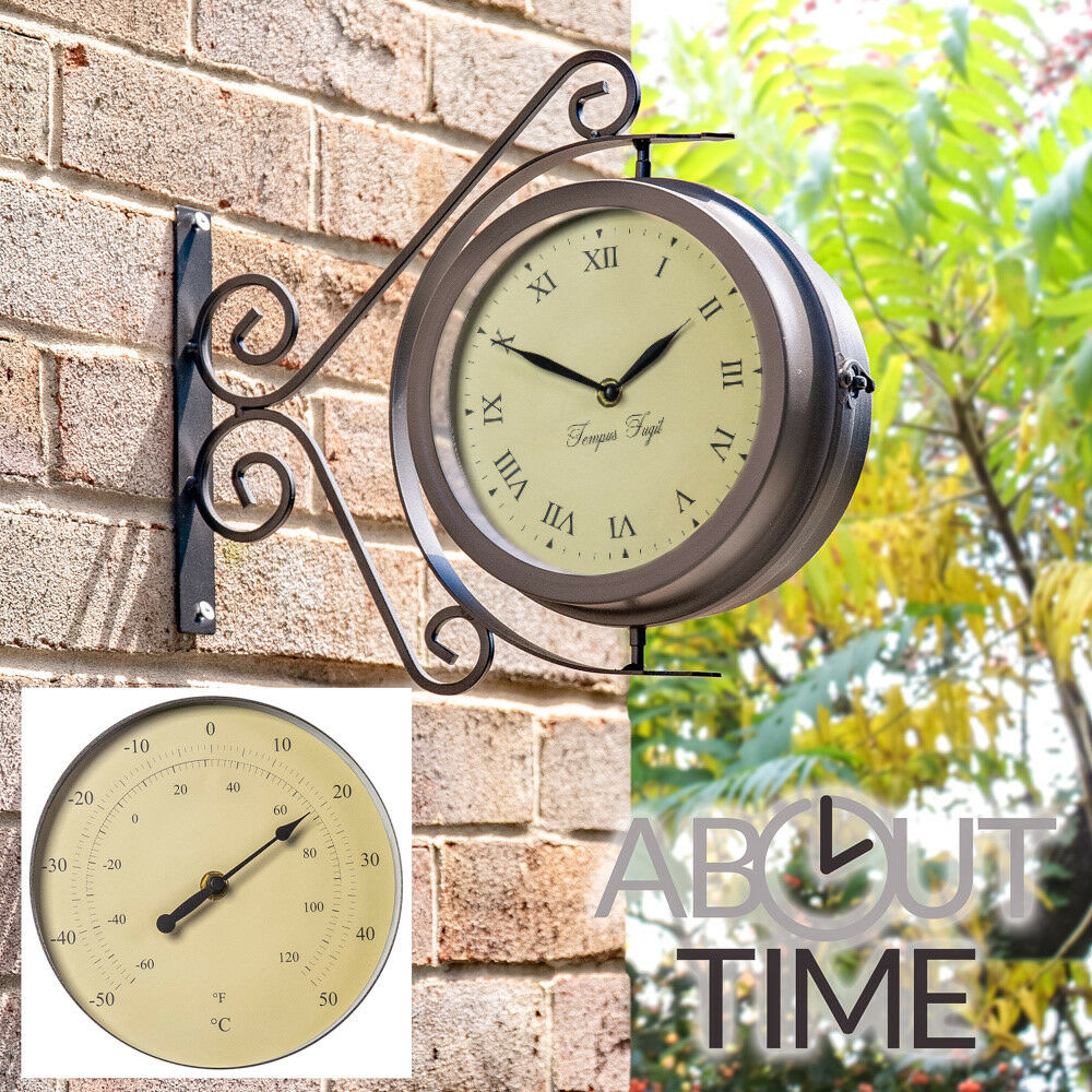 outdoor garden wall clock thermometer garden yard