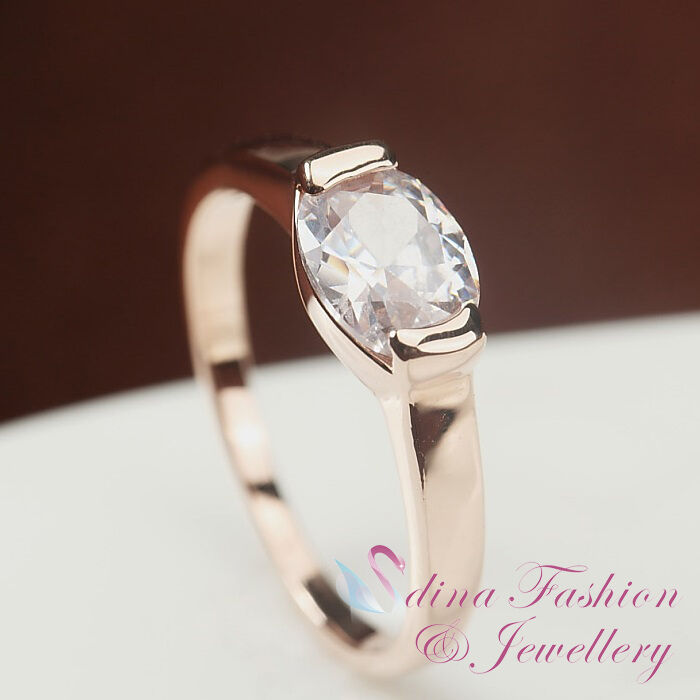 18K Rose Gold Plated Simulated Diamond Oval Cut Simple Design Engagement Ring