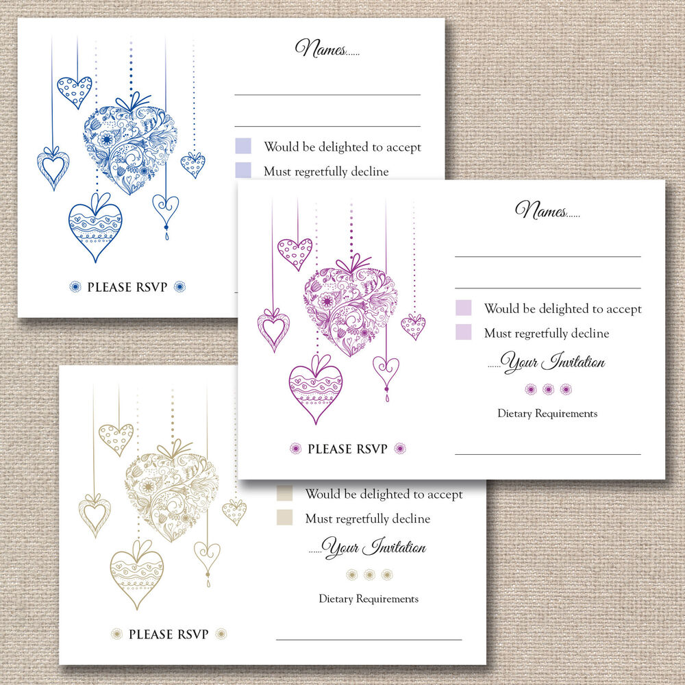 25 x floral hearts wedding a7 rsvp cards envelopes for for Wedding invitations and rsvp cards all in one uk