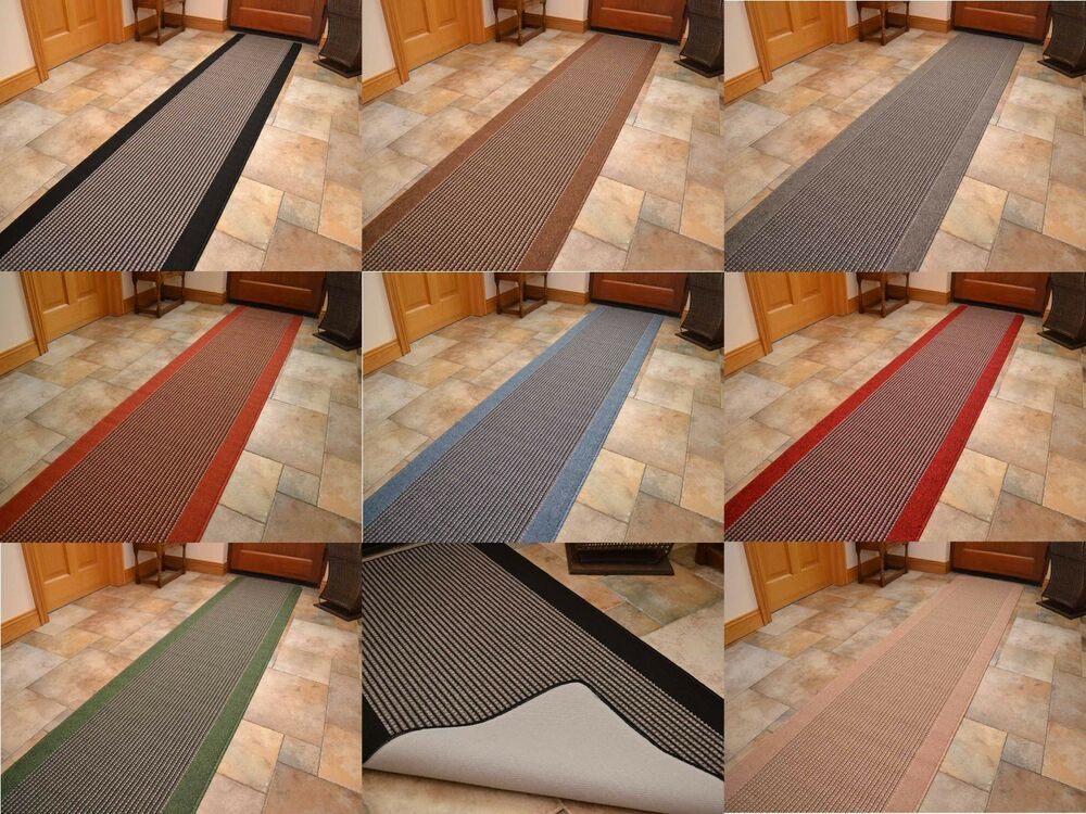 Non Slip Washable Kitchen Rubber Back Long Door Mat Grey