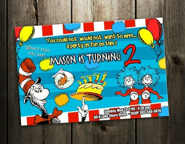 Dr Seuss Birthday Party Invitation Cat In The Hat Card Custom Baby