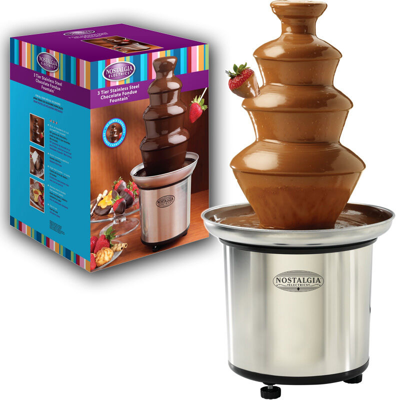 stainless steel chocolate fountain fondue maker flowing 3 tier heated machine ebay. Black Bedroom Furniture Sets. Home Design Ideas