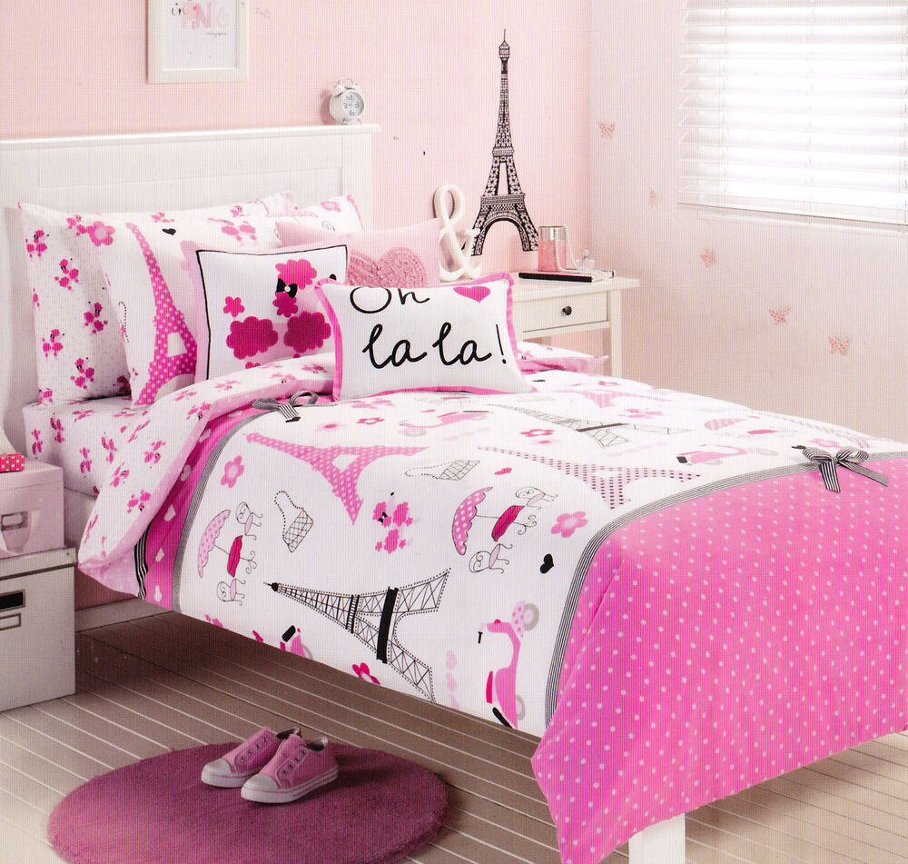 Pink Paris Eiffel Tower Single Twin Size Quilt Cover Set