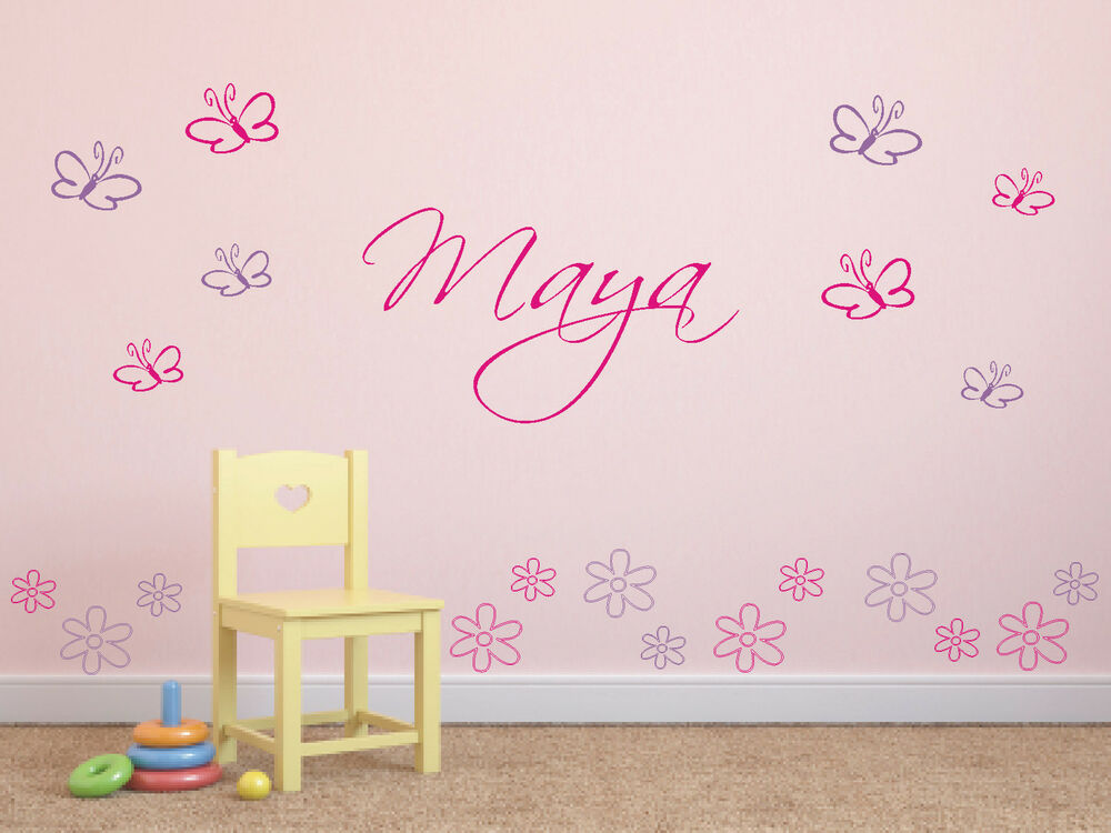 wandtattoo schmetterlinge blumen wunschnamen kinderzimmer 2 farbig ebay. Black Bedroom Furniture Sets. Home Design Ideas