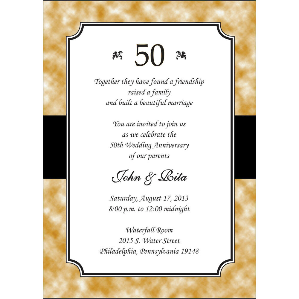 25 personalized 50th golden wedding anniversary invitations ap020
