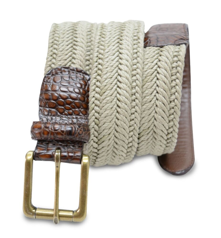 These braided stretch belts come in many styles and colors. Many are made from elastic and have a laced or weaved pattern. Many are made from elastic and have a laced or weaved pattern. Buy your favorite woven belt here or expand your selection by shopping our men's casual and jean belts or our entire selection of belts for men.