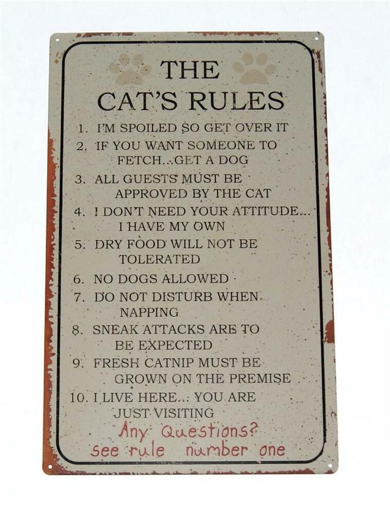 The Cat's Rules Tin Metal Novelty Sign Top 10 Rules Your ...