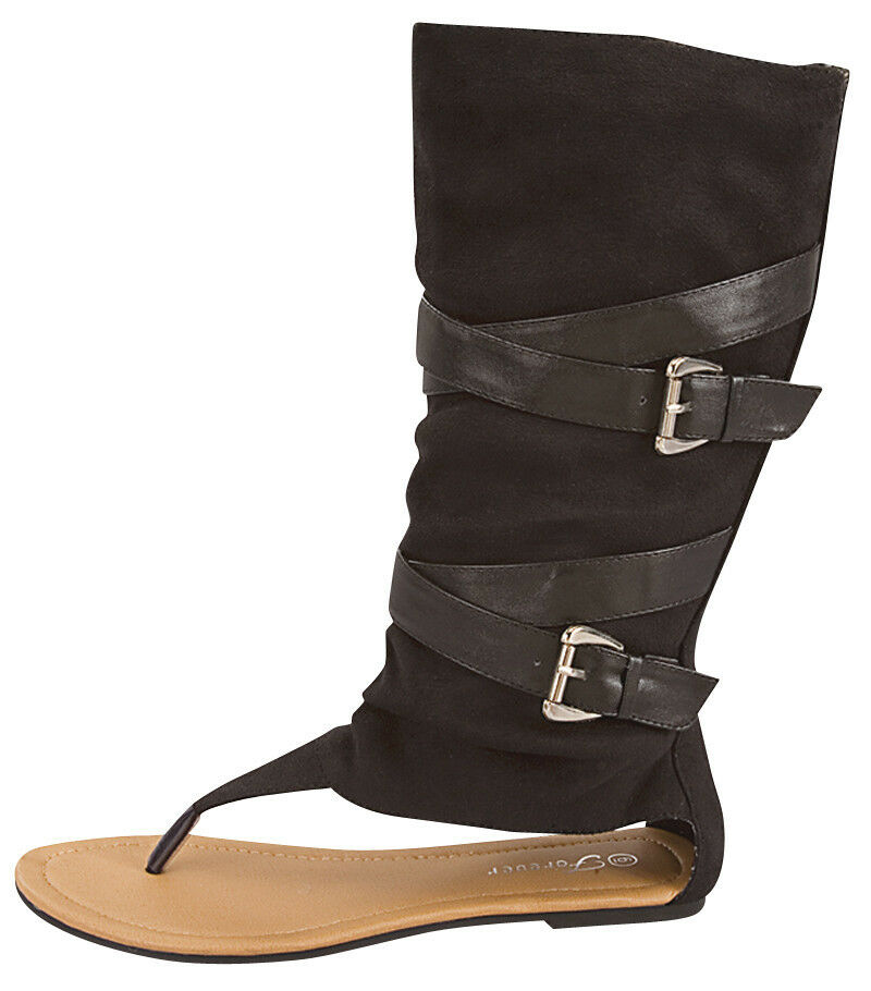 high gladiator flat sandal boot shoes black brown