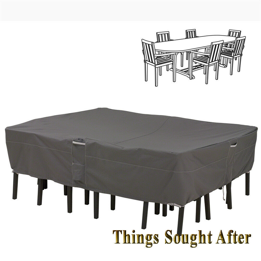 Cover for xl oval rectangular patio table chair set for Patio furniture covers xl