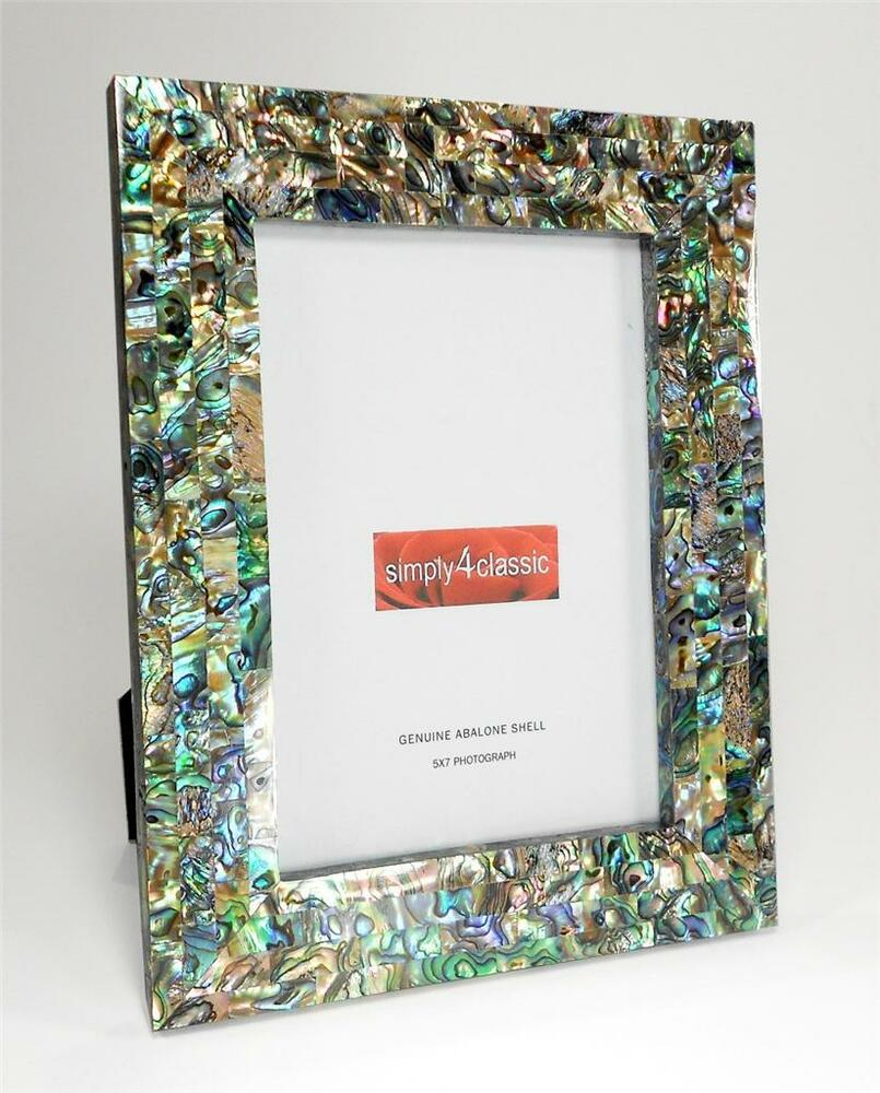 genuine abalone paua shell mother of pearl picture frame 5 x 7 photo handmade ebay. Black Bedroom Furniture Sets. Home Design Ideas