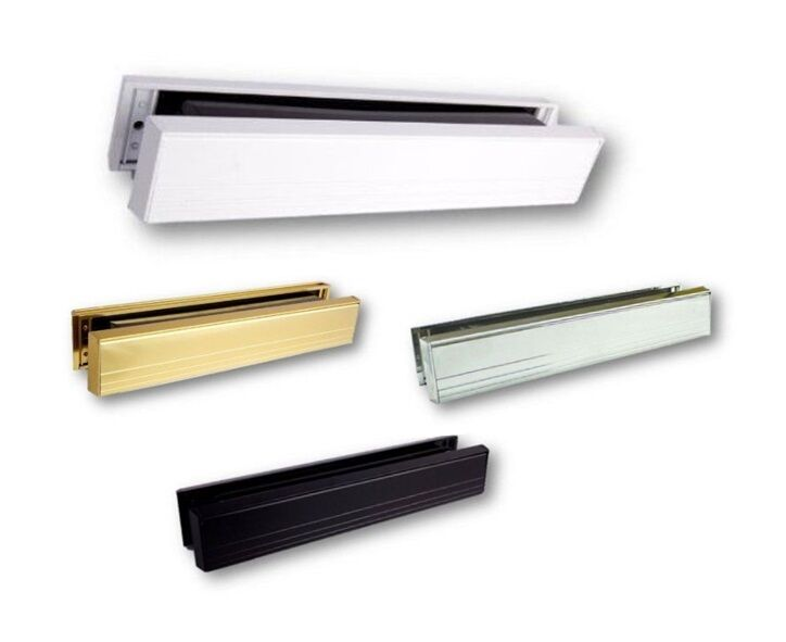 Upvc door letterbox slimline 12 letterbox white gold for Upvc french doors with letterbox