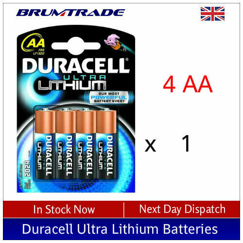 4 x AA Duracell Ultra Lithium 1.5v Batteries - FR6 LF1500