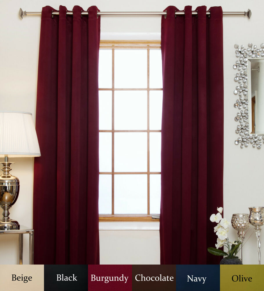 antique brass grommet top thermal insulated blackout curtain 84 inch length pair ebay. Black Bedroom Furniture Sets. Home Design Ideas