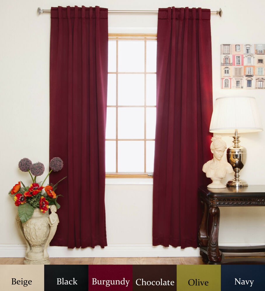 rod pocket thermal insulated blackout curtain 64 inch length pair ebay. Black Bedroom Furniture Sets. Home Design Ideas