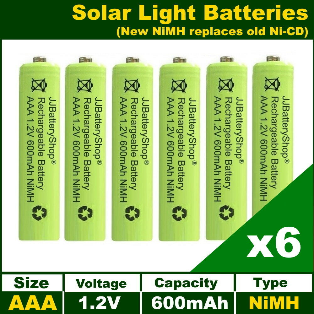 6 X Aaa 1 2v 600mah Nimh Rechargeable Batteries For Garden