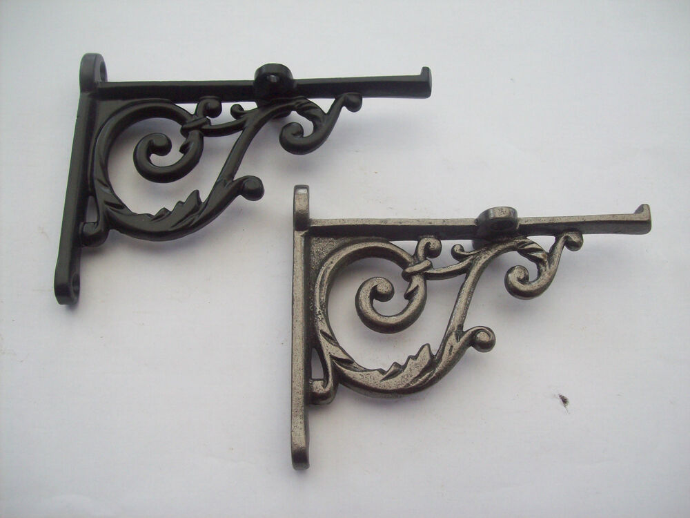 Cast Iron Victorian Style Scroll Shelf Support Book Sink