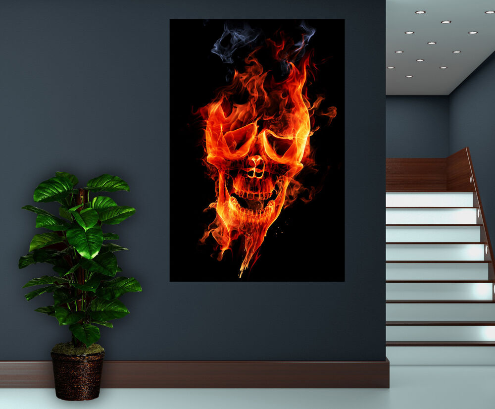 Canvas Giclee Prints Wall Art Skull Flames Picture