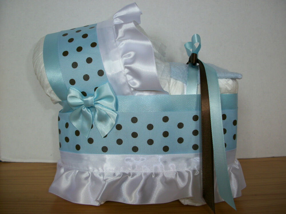 Beautiful Baby Blue Brown Boy Diaper Bassinet Baby Shower