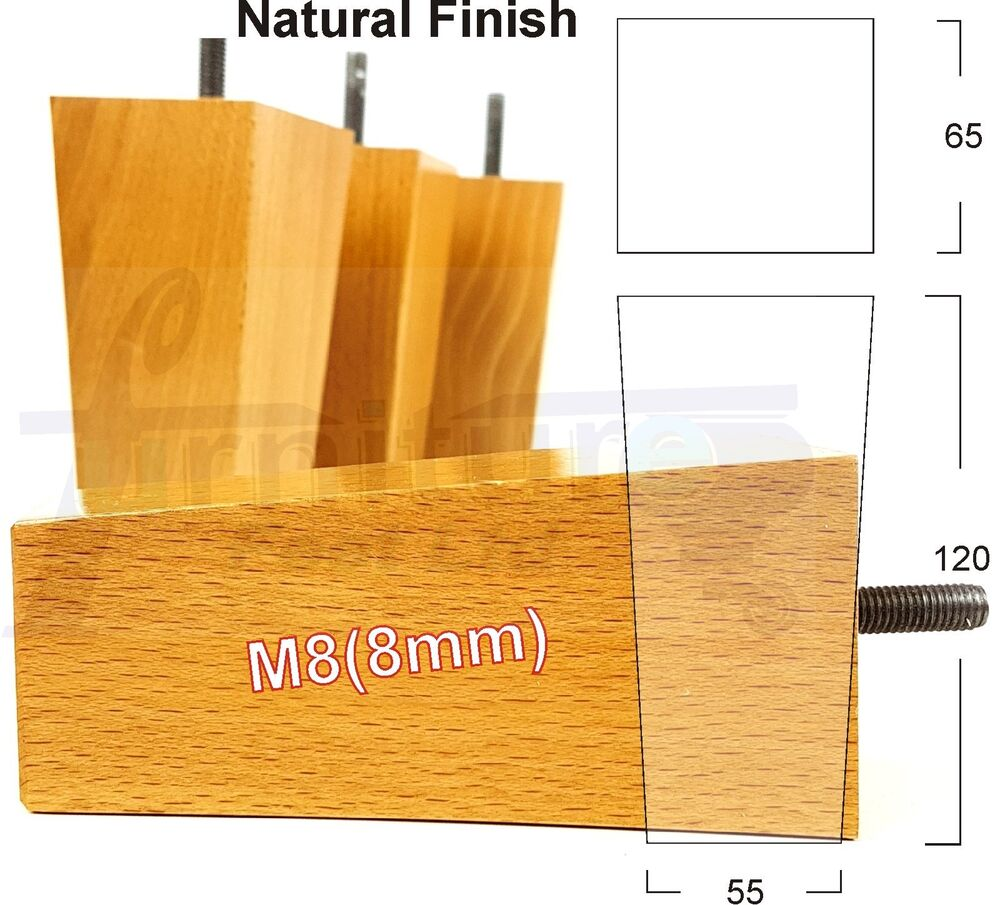 4x wooden furniture legs feet for sofas settees chairs footstool m8 ebay. Black Bedroom Furniture Sets. Home Design Ideas