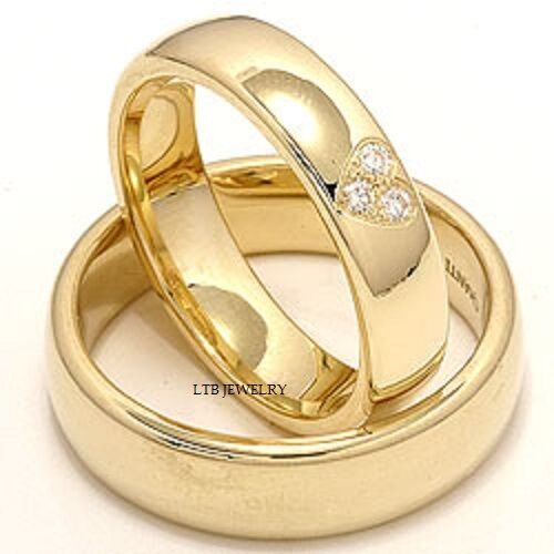 10K YELLOW GOLD MATCHING HIS & HERS WEDDING BANDS DIAMONDS RINGS MENS WOM