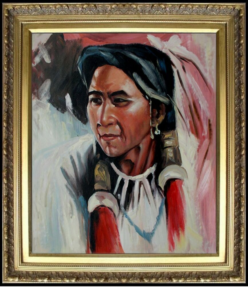 Framed portrait of a native american hand painted oil for Hand painted portraits from photos