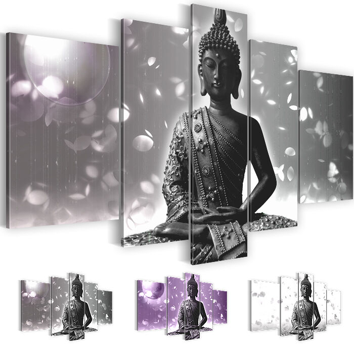bild leinwand bilder kunstdruck buddha grau lila schwarz wei 5tlg 5010516 27 ebay. Black Bedroom Furniture Sets. Home Design Ideas