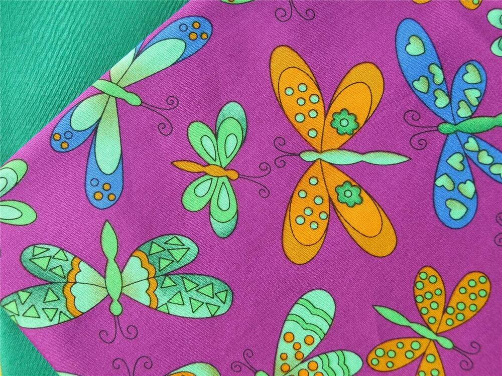 Butterflies bright fun purple 100 cotton fabric for dress for Bright childrens fabric