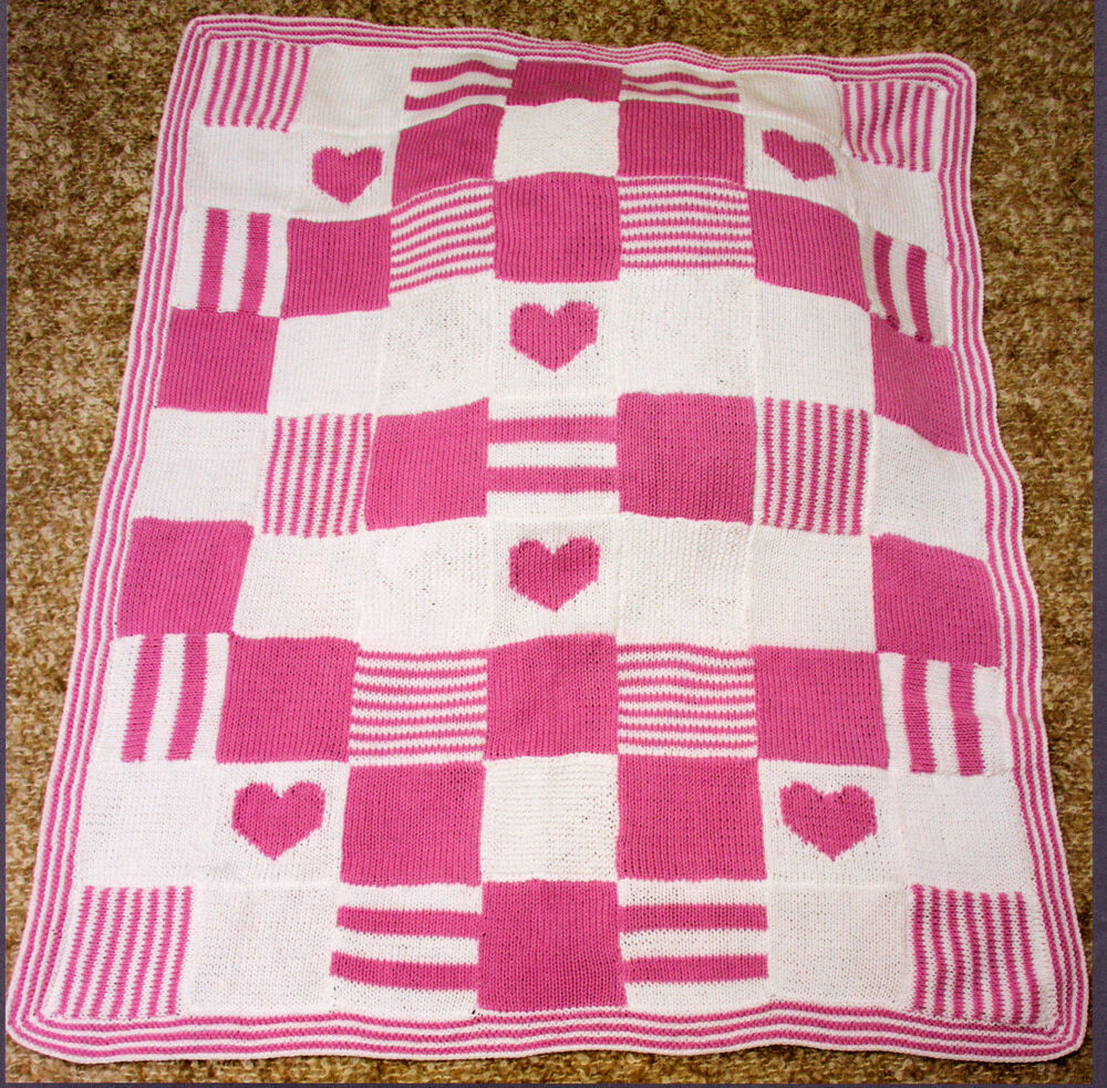 Knitting Patchwork Quilt Patterns : Patchwork heart baby blanket knit in squares quot dk