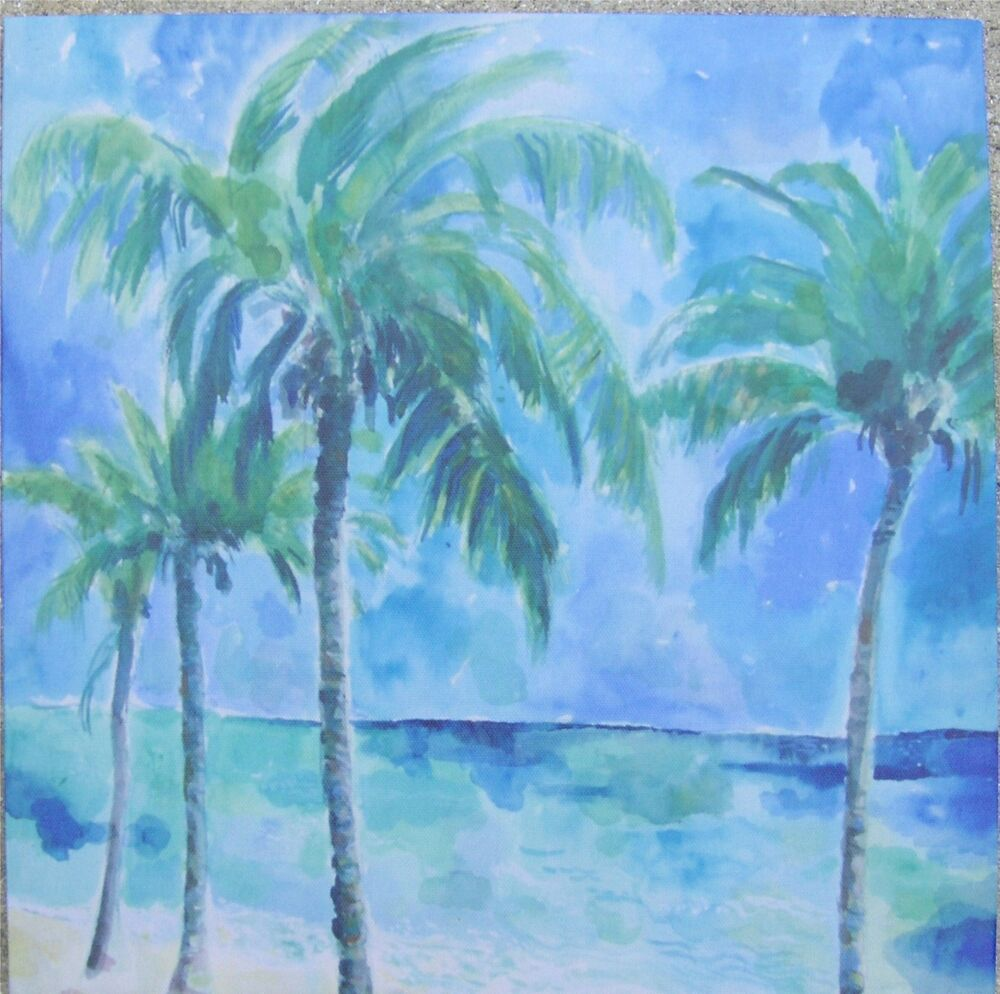 12 Quot X 12 Quot Palm Trees On The Beach Print On Fabric Ebay