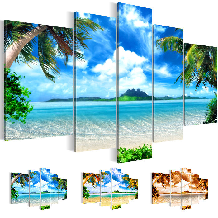 bild leinwand bilder kunstdruck landschaft strand meer blau 5tlg 6033516 27 ebay. Black Bedroom Furniture Sets. Home Design Ideas