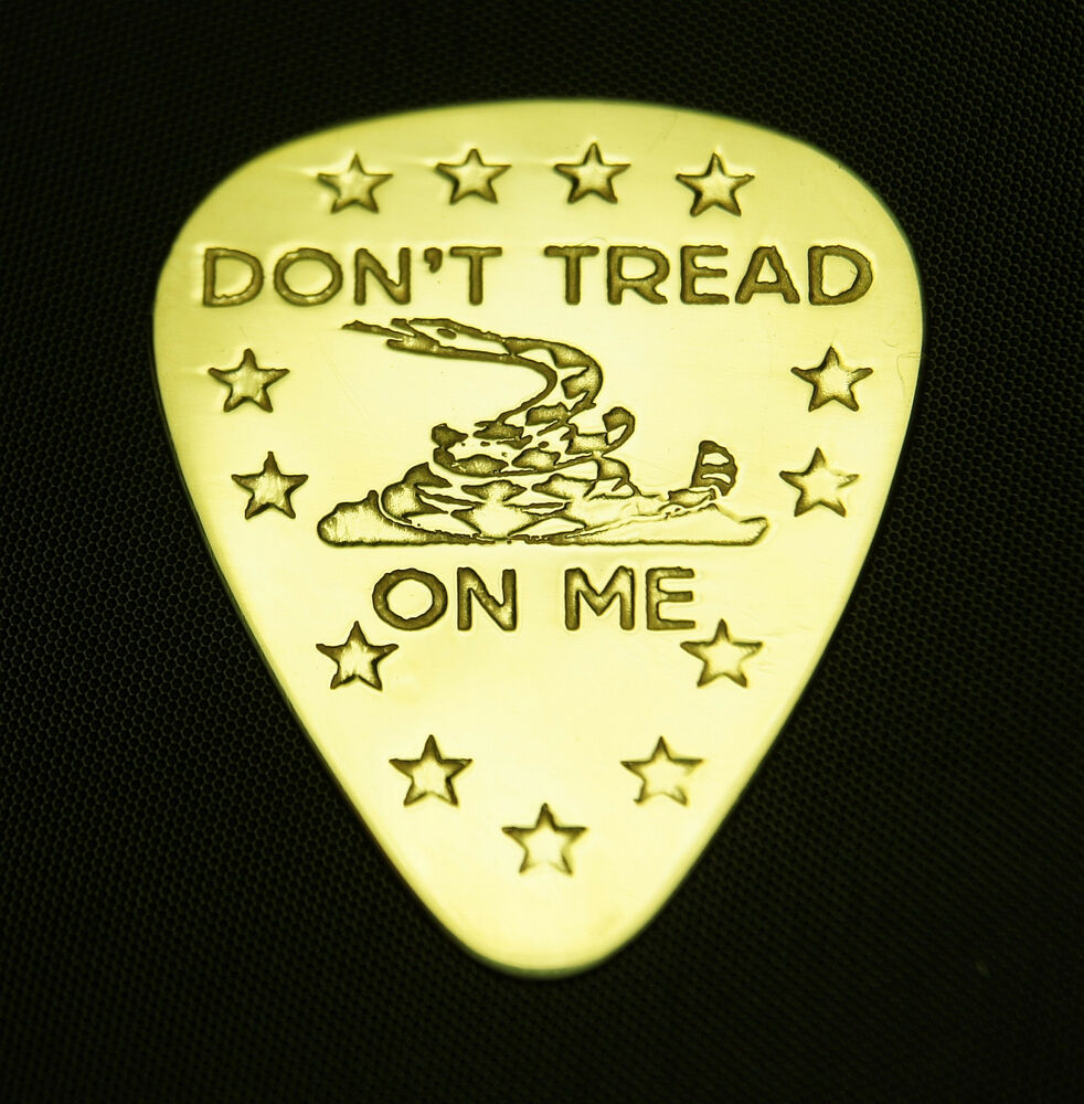 don 39 t tread on me solid brass guitar pick acoustic electric bass ebay. Black Bedroom Furniture Sets. Home Design Ideas