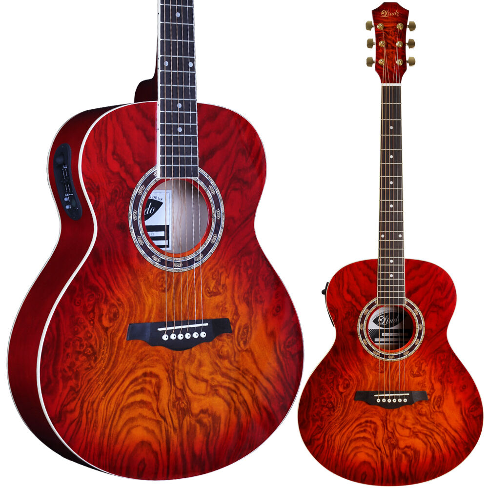 lindo red lava electro electric acoustic guitar with lcd tuner youtube demo ebay. Black Bedroom Furniture Sets. Home Design Ideas