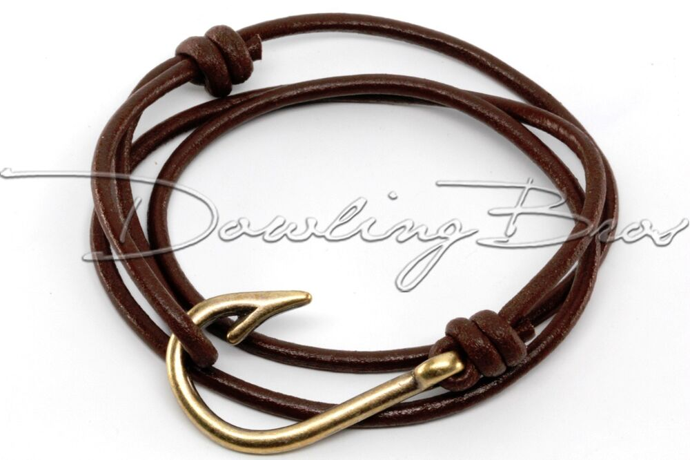Bronze fish hook chocolate round genuine leather cord for Leather fish hook bracelet